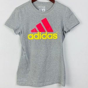 ADIDAS The Go To Tee Pink and Yellow Logo
